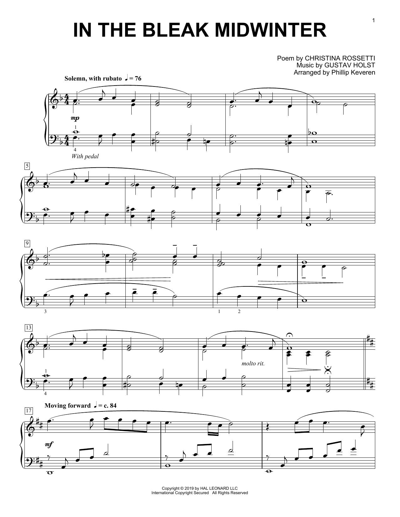 Gustav Holst In The Bleak Midwinter [Classical version] (arr. Phillip Keveren) sheet music notes and chords