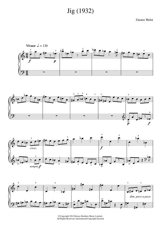 Gustav Holst Jig (1932) sheet music notes and chords. Download Printable PDF.