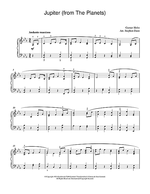 Gustav Holst Jupiter (from The Planets, Op.32) sheet music notes and chords