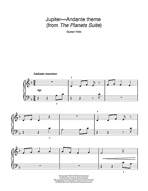 Gustav Holst Jupiter (from The Planets Op. 32) sheet music notes and chords. Download Printable PDF.