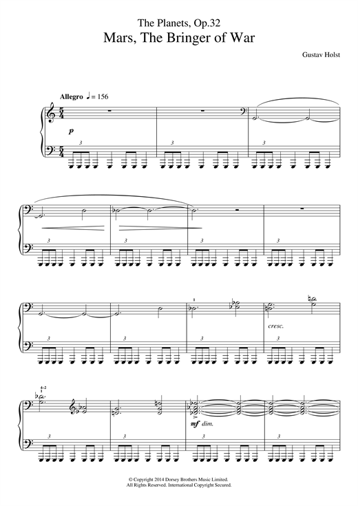 Gustav Holst The Planets, Op. 32: Mars, the Bringer of War sheet music notes and chords