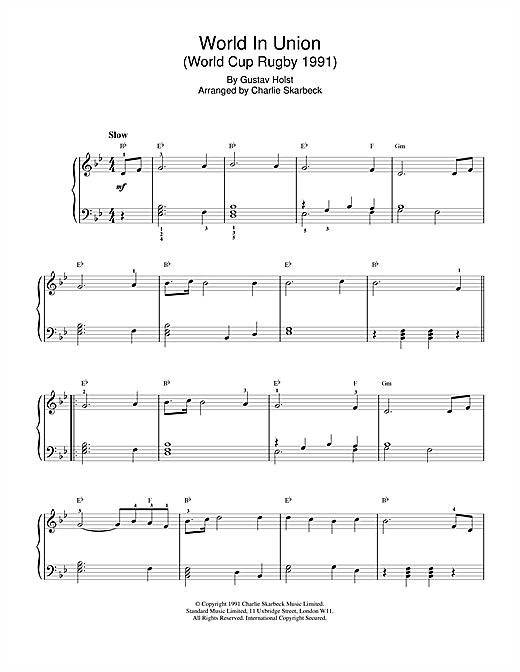 Gustav Holst World In Union sheet music notes and chords. Download Printable PDF.