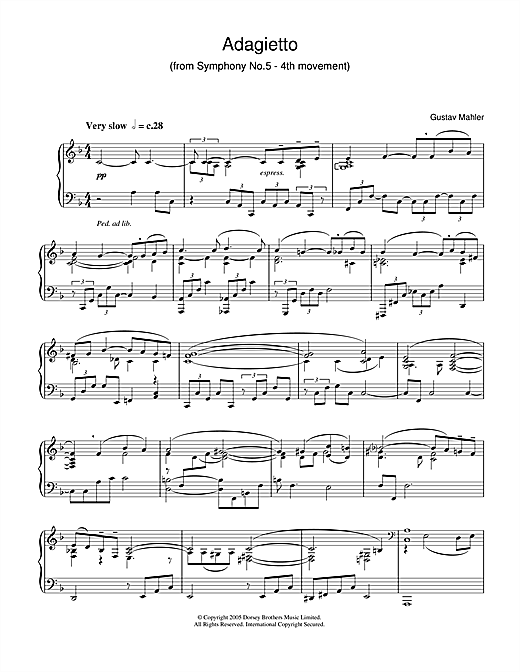 Gustav Mahler Adagietto from Symphony No.5 (4th Movement) sheet music notes and chords
