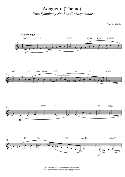 Gustav Mahler Theme From Symphony No 5 sheet music notes and chords. Download Printable PDF.