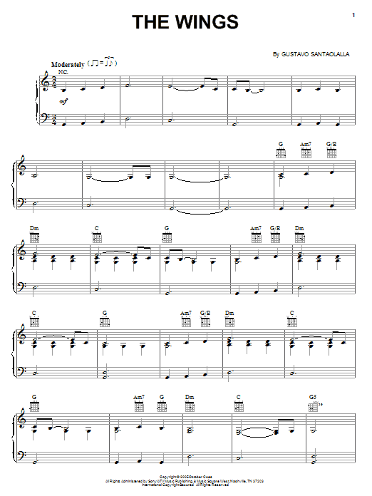 Gustavo Santaolalla The Wings sheet music notes and chords