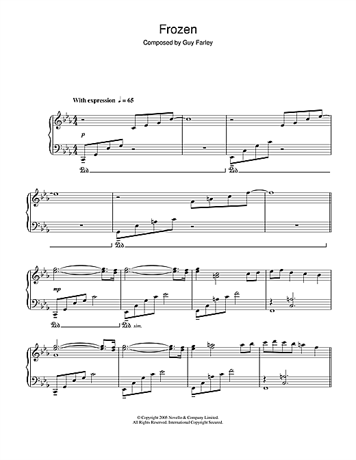Guy Farley Frozen (from 'Cashback') sheet music notes and chords