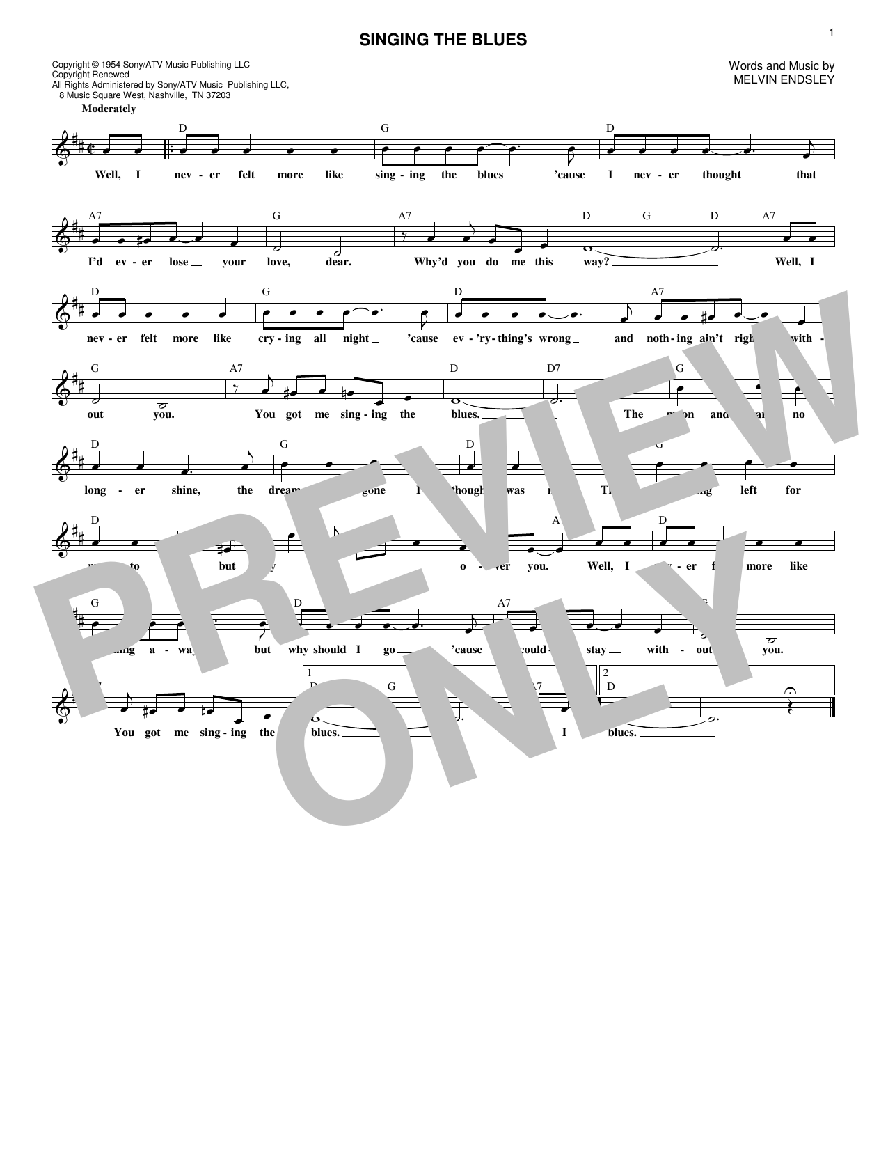 Guy Mitchell Singing The Blues sheet music notes and chords. Download Printable PDF.