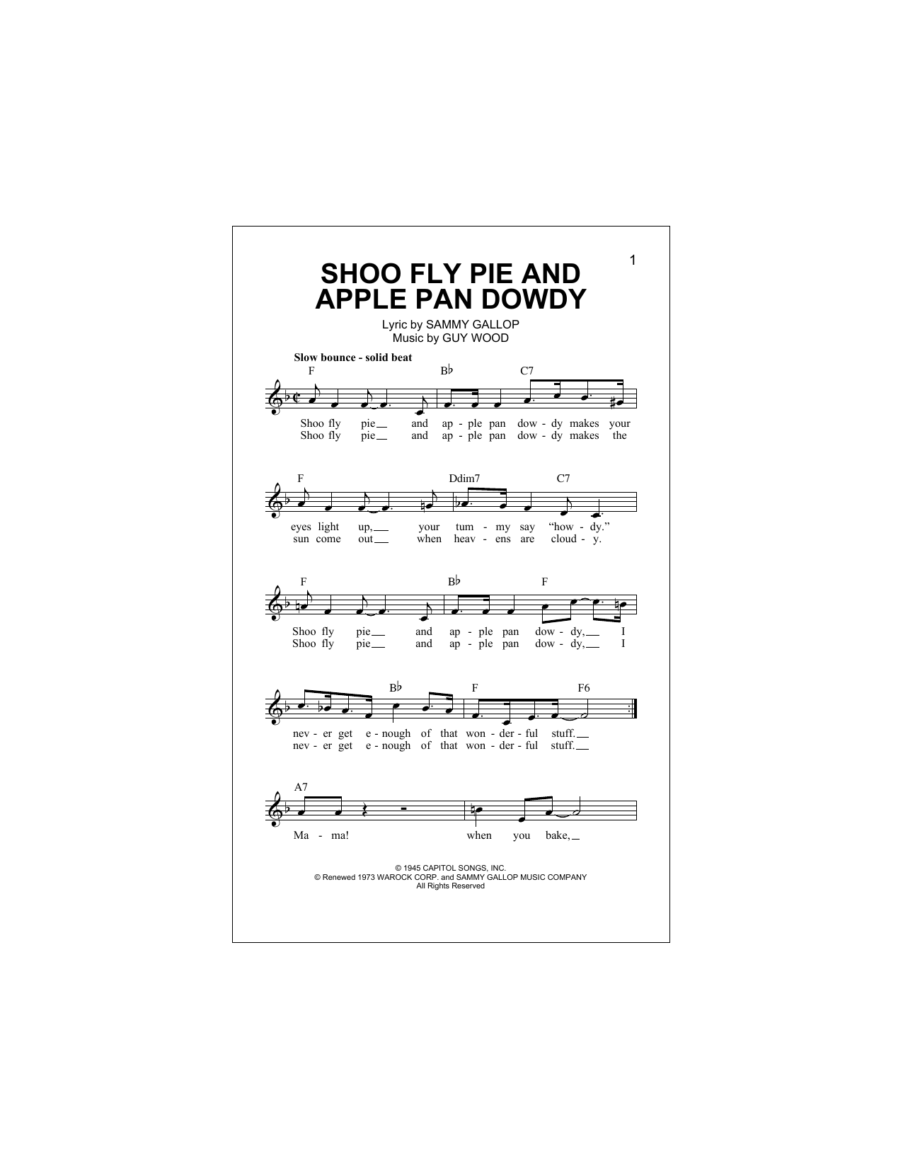 Guy Wood Shoo Fly Pie And Apple Pan Dowdy sheet music notes and chords. Download Printable PDF.