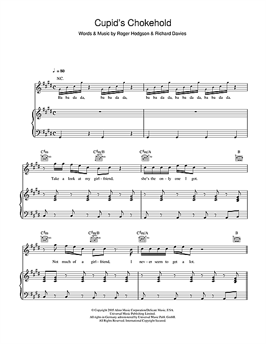 Gym Class Heroes Cupid's Chokehold sheet music notes and chords. Download Printable PDF.