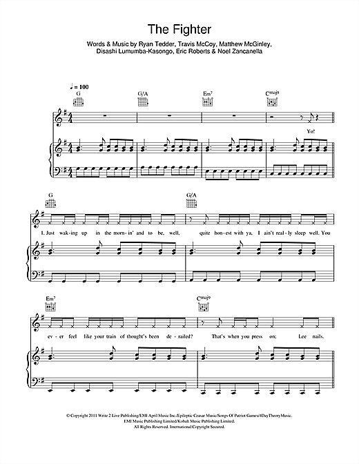 Roblox The Fighter Gym Class Heroes Featuring Ryan Tedder Youtube Gym Class Heroes The Fighter Feat Ryan Tedder Sheet Music Pdf Notes Chords Hip Hop Score Piano Vocal Guitar Right Hand Melody Download Printable Sku 114583