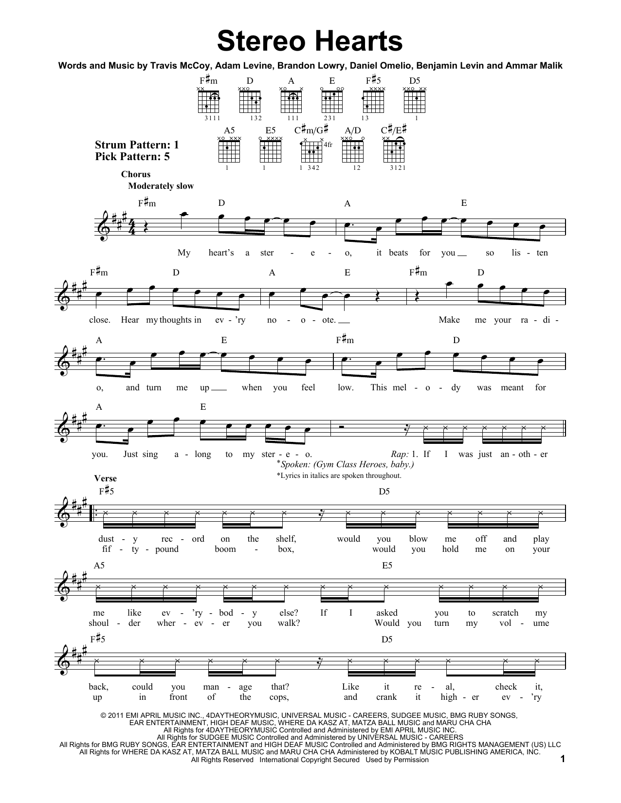 Gym Class Heroes Stereo Hearts (feat. Adam Levine) sheet music notes and chords. Download Printable PDF.