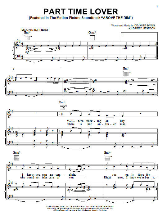 H-Town Part Time Lover (from Above The Rim) sheet music notes and chords. Download Printable PDF.