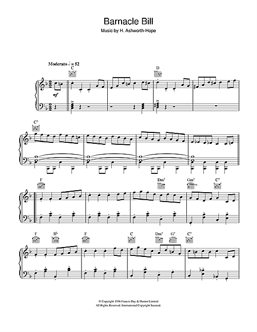 H. Ashworth-Hope Barnacle Bill (Theme from Blue Peter) sheet music notes and chords. Download Printable PDF.