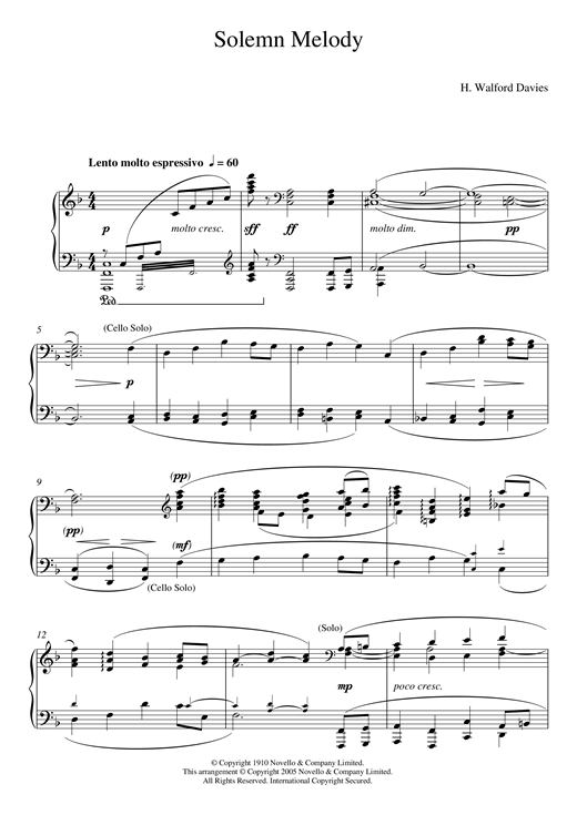 H. Walford Davies Solemn Melody sheet music notes and chords