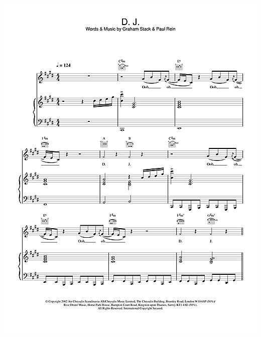 H & Claire D.J. sheet music notes and chords. Download Printable PDF.
