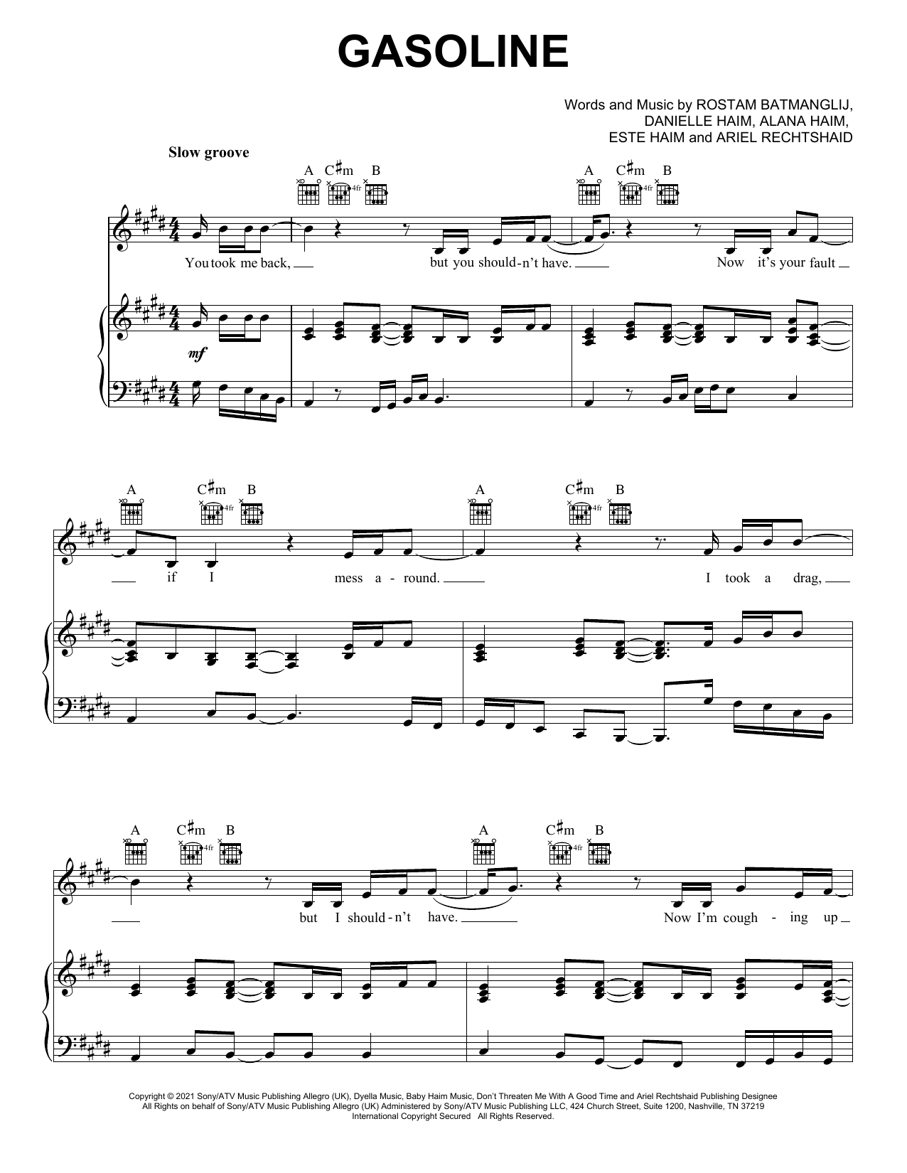 Haim Gasoline (feat. Taylor Swift) sheet music notes and chords. Download Printable PDF.