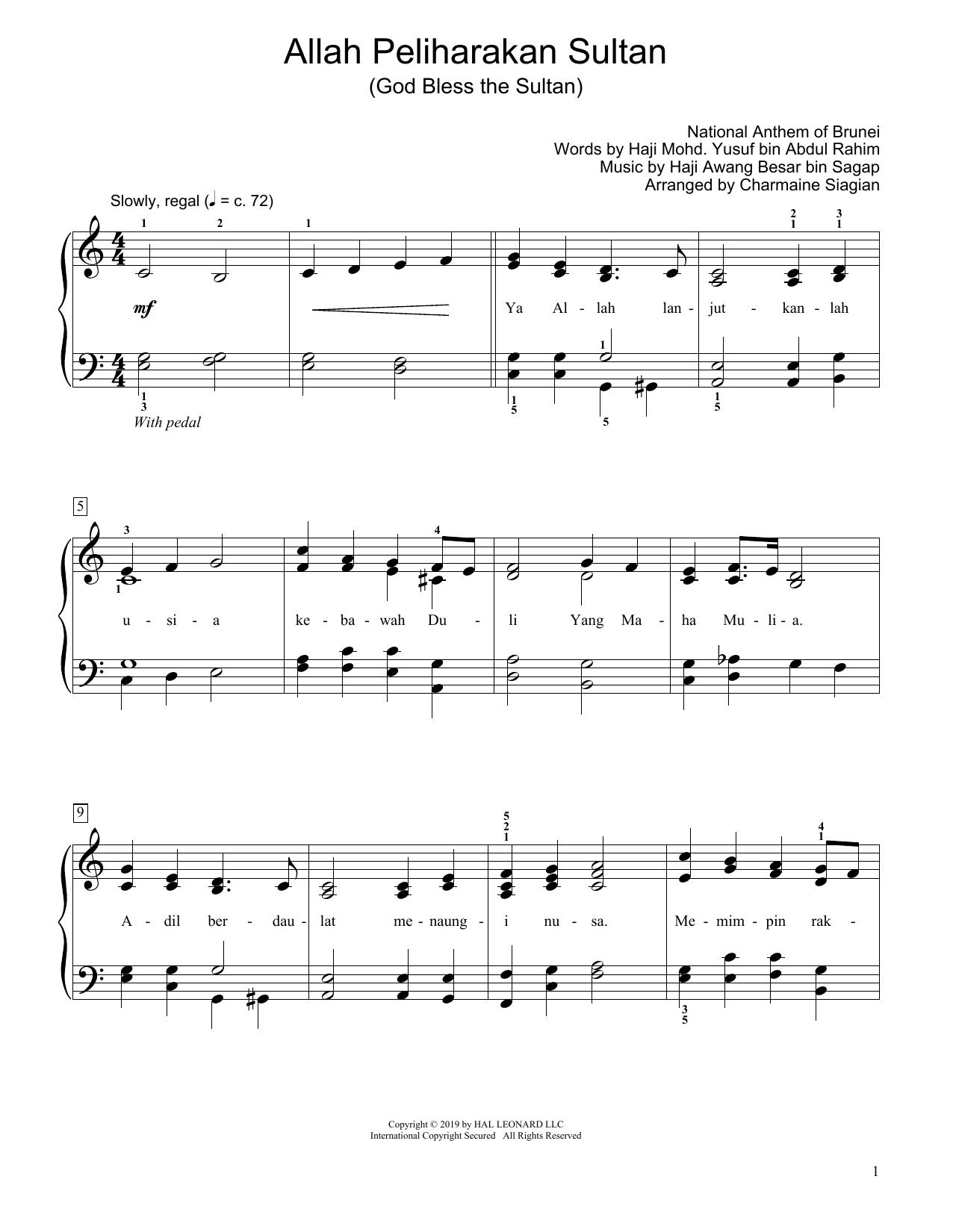 Haji Awang bin Sagap God Bless The Sultan (Allah Peliharakan Sultan) (arr. Charmaine Siagian) sheet music notes and chords. Download Printable PDF.
