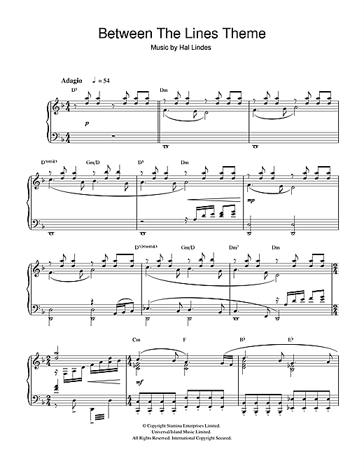Hal Lindes Between The Lines Theme sheet music notes and chords. Download Printable PDF.