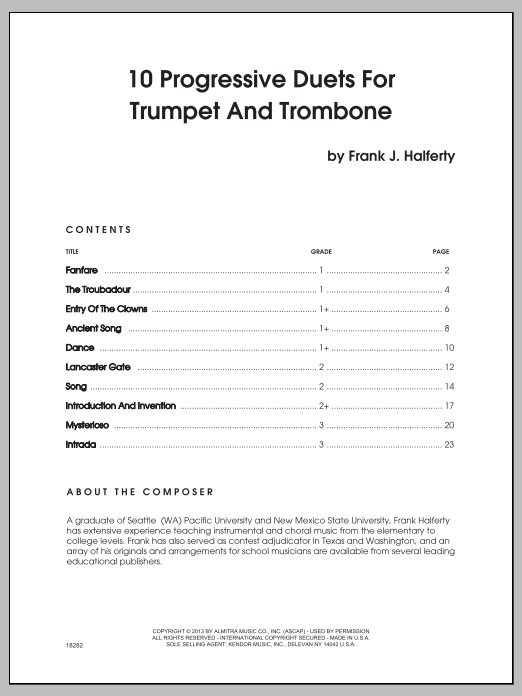 Halferty 10 Progressive Duets For Trumpet And Trombone sheet music notes and chords