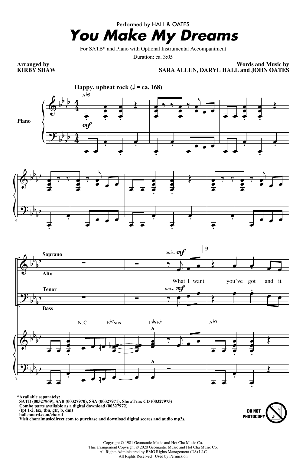 Hall & Oates You Make My Dreams (arr. Kirby Shaw) sheet music notes and chords. Download Printable PDF.