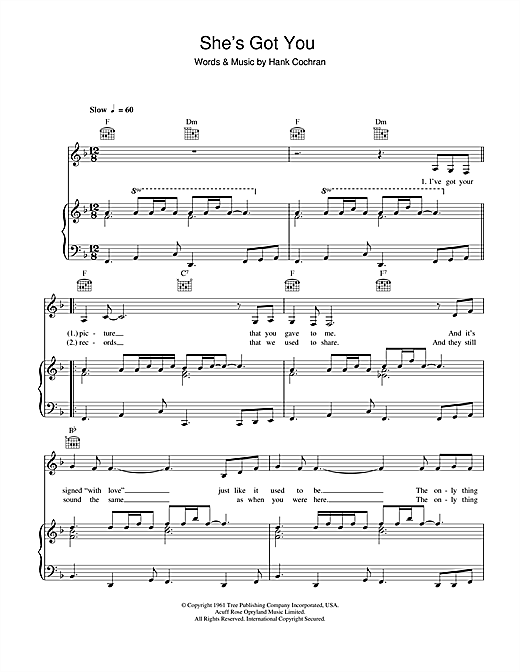 Hank Cochran She's Got You sheet music notes and chords. Download Printable PDF.