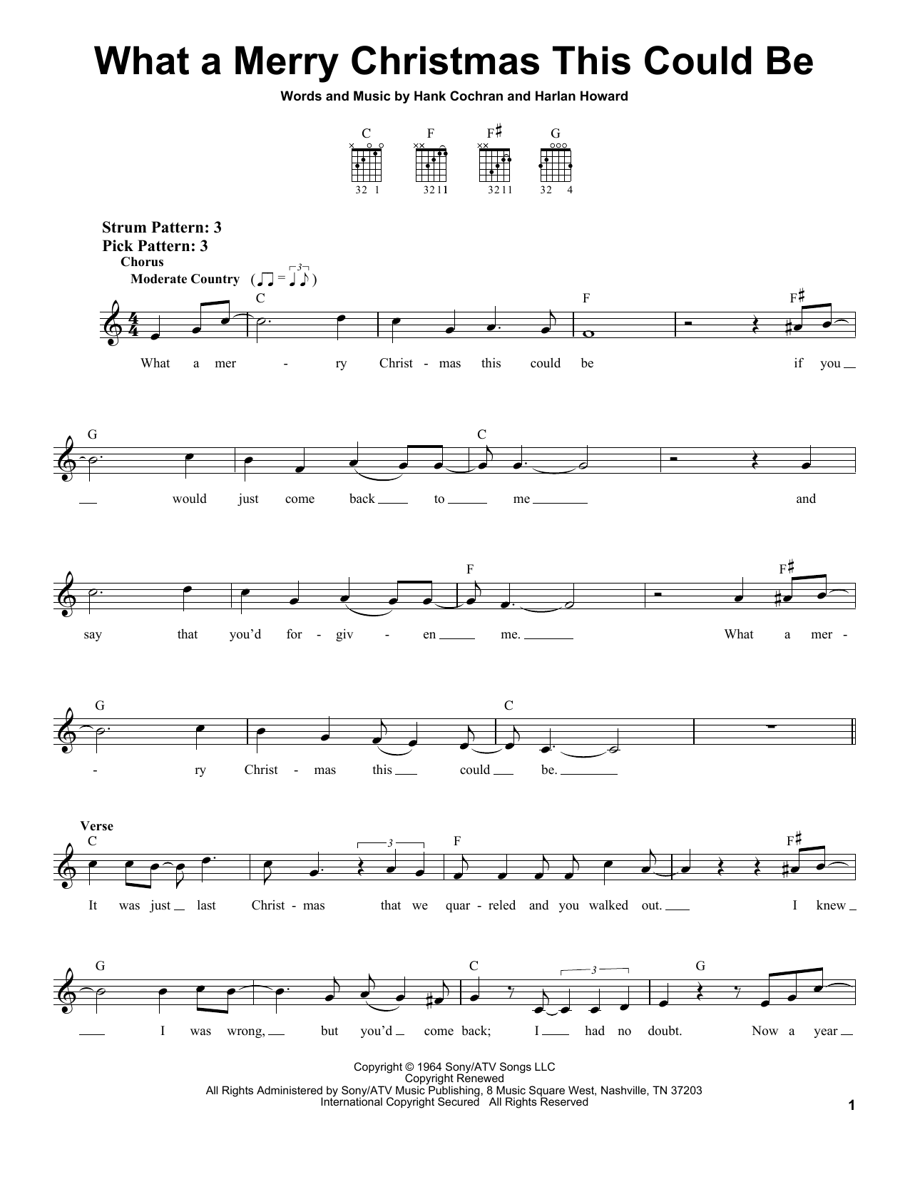 Hank Cochran What A Merry Christmas This Could Be sheet music notes and chords