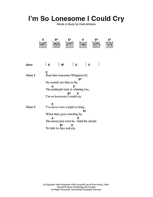 Hank Williams I'm So Lonesome I Could Cry sheet music notes and chords. Download Printable PDF.