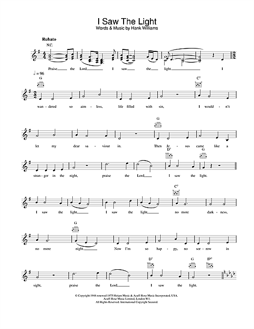 Hank Williams I Saw The Light sheet music notes and chords