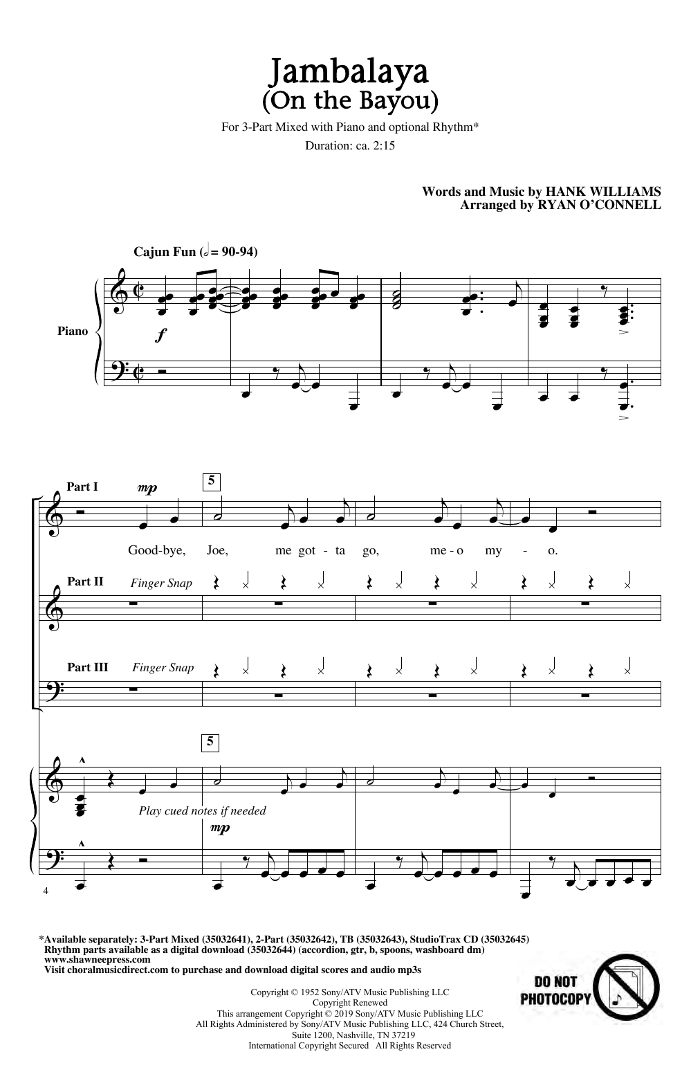 Hank Williams Jambalaya (On The Bayou) (arr. Ryan O'Connell) sheet music notes and chords. Download Printable PDF.