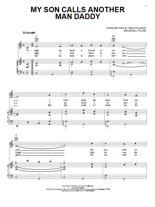 Hank Williams My Son Calls Another Man Daddy sheet music notes and chords. Download Printable PDF.