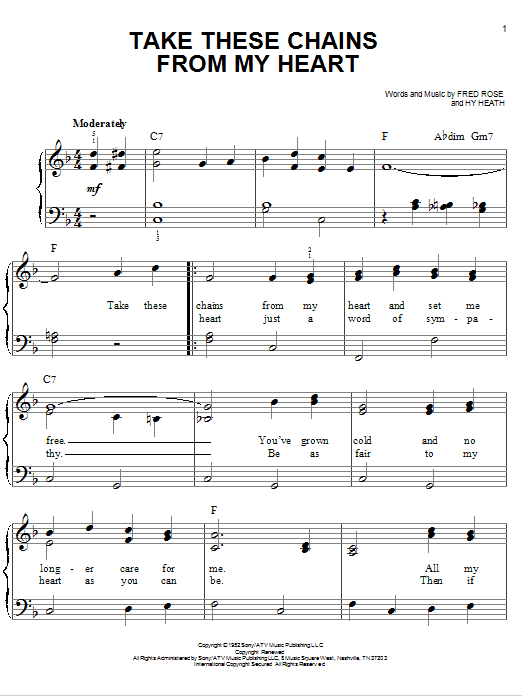 Ray Charles Take These Chains From My Heart sheet music notes and chords. Download Printable PDF.