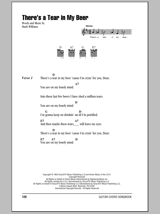Hank Williams There's A Tear In My Beer sheet music notes and chords. Download Printable PDF.