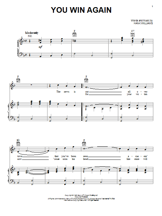 Hank Williams You Win Again sheet music notes and chords. Download Printable PDF.