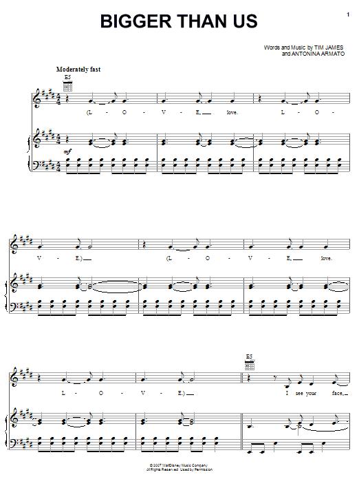 Hannah Montana Bigger Than Us sheet music notes and chords. Download Printable PDF.