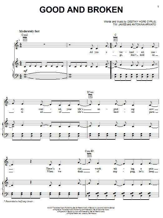 Hannah Montana Good And Broken sheet music notes and chords. Download Printable PDF.