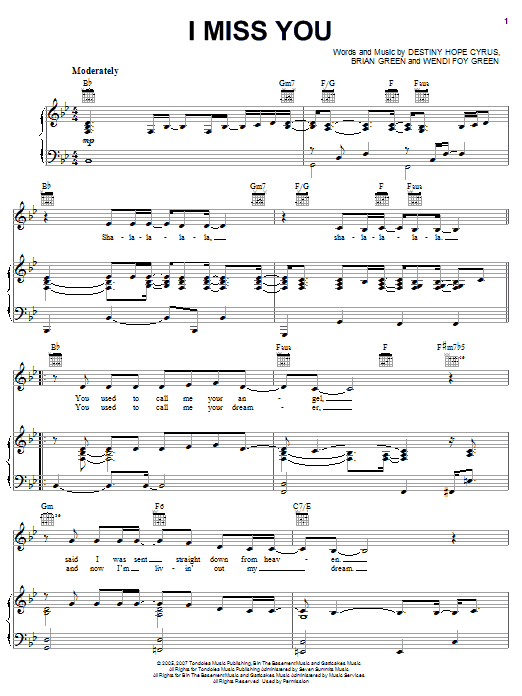 Hannah Montana I Miss You sheet music notes and chords. Download Printable PDF.