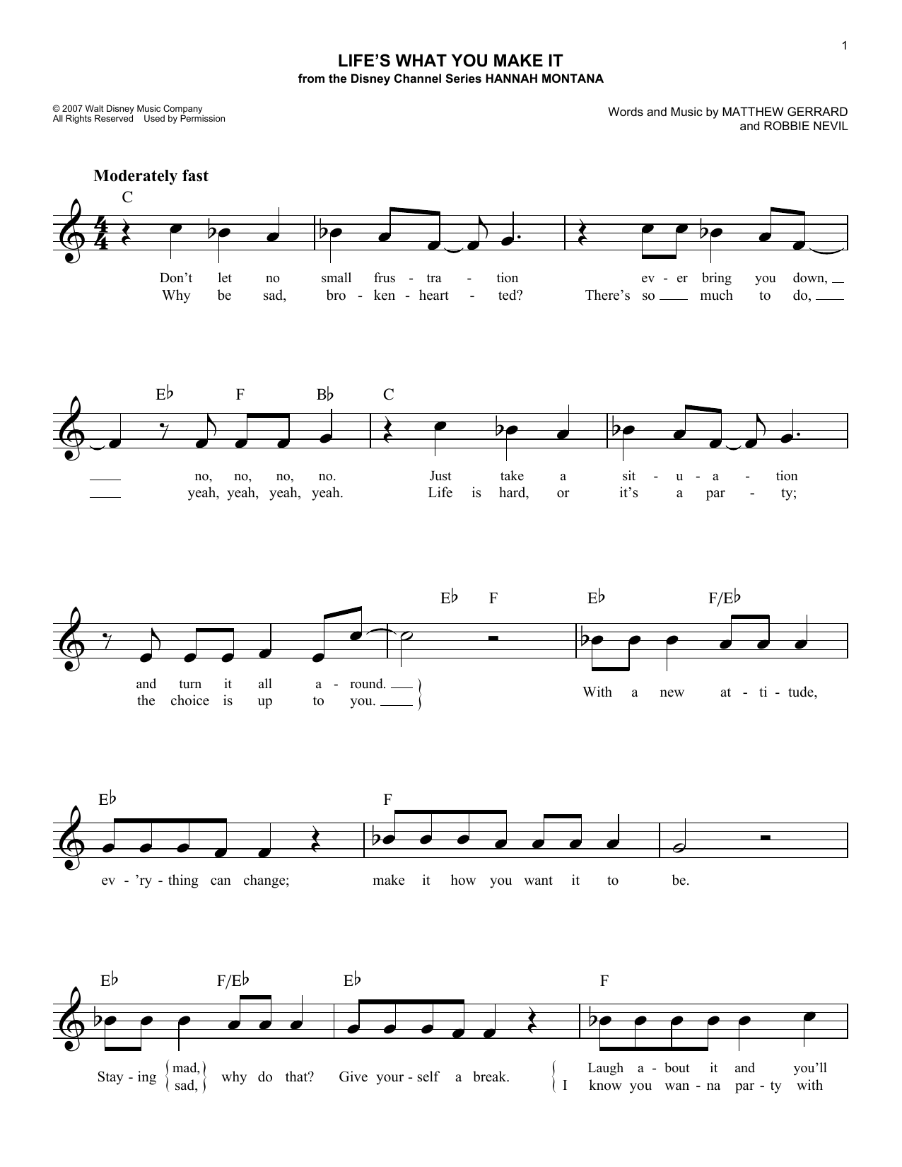 Hannah Montana Life's What You Make It sheet music notes and chords. Download Printable PDF.