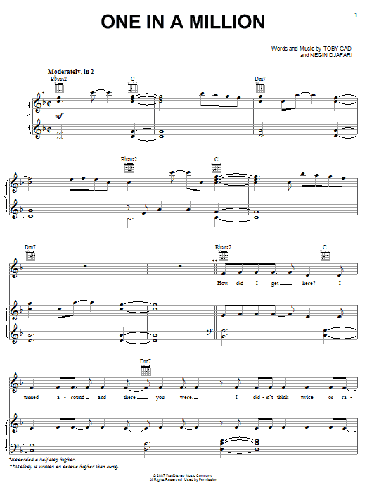 Hannah Montana One In A Million sheet music notes and chords