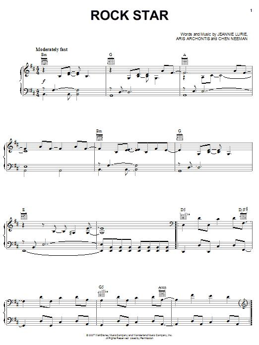 Hannah Montana Rock Star sheet music notes and chords. Download Printable PDF.