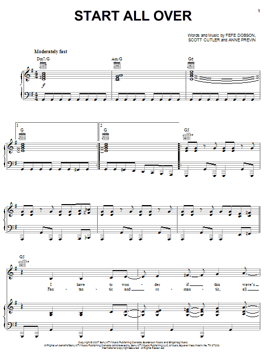 Hannah Montana Start All Over sheet music notes and chords. Download Printable PDF.