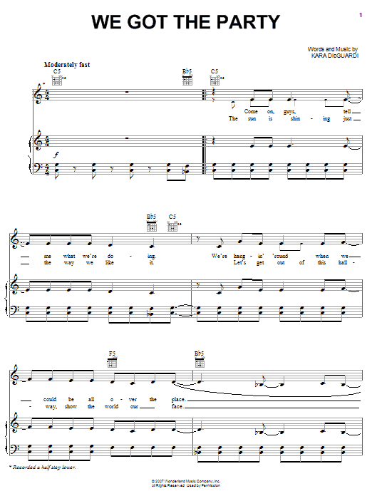 Hannah Montana We Got The Party sheet music notes and chords. Download Printable PDF.
