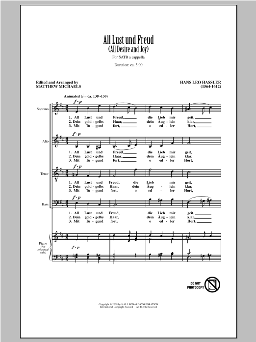 Hans Leo Hassler All Lust Und Freud (All Desire And Joy) (arr. Matthew Michaels) sheet music notes and chords. Download Printable PDF.