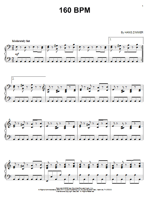 Hans Zimmer 160 BPM sheet music notes and chords. Download Printable PDF.