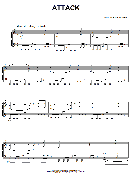 Hans Zimmer Attack (from Pearl Harbor) sheet music notes and chords. Download Printable PDF.