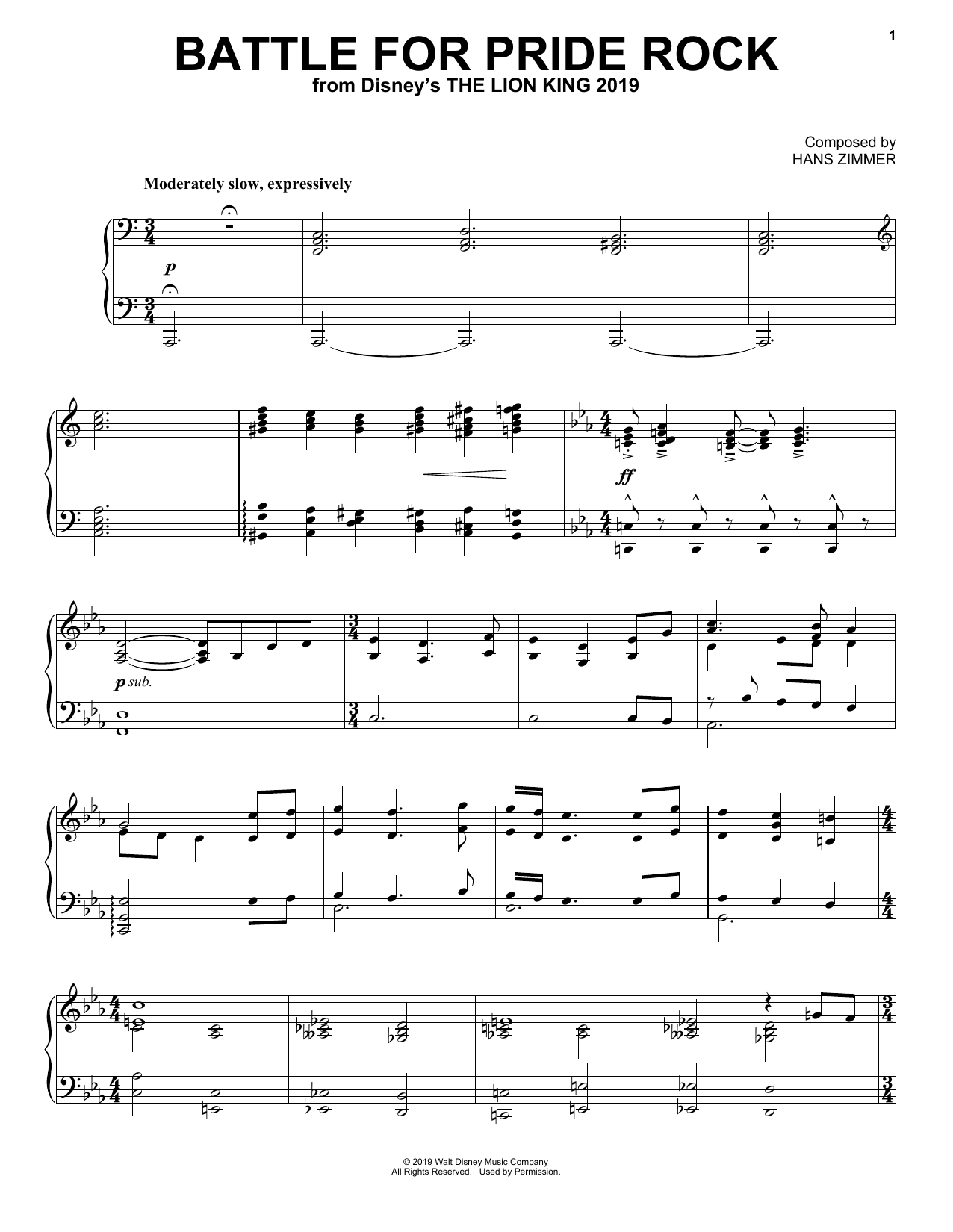 Hans Zimmer Battle For Pride Rock (from The Lion King 2019) sheet music notes and chords. Download Printable PDF.
