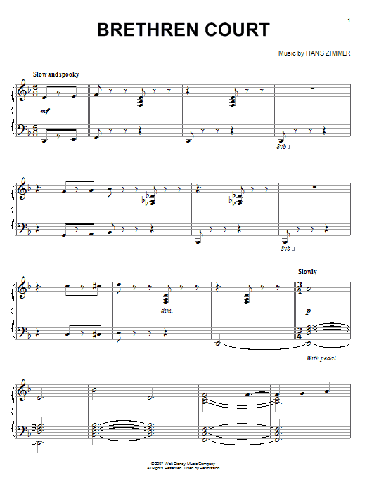Hans Zimmer Brethren Court (from Pirates Of The Caribbean: At World's End) sheet music notes and chords
