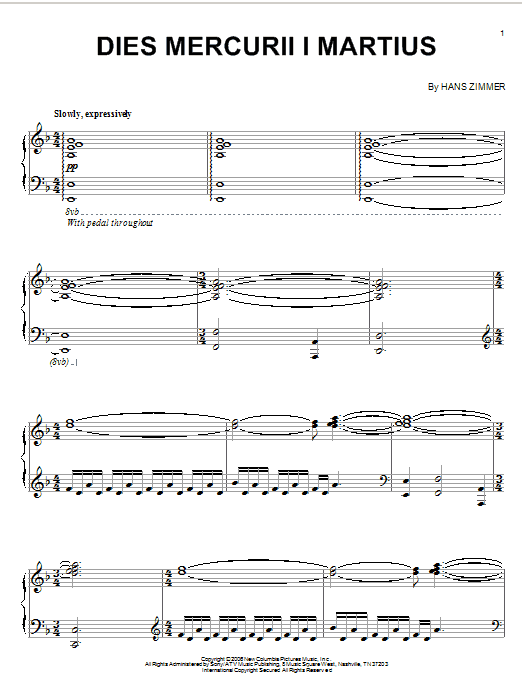 Hans Zimmer Dies Mercurii I Martius (from The Da Vinci Code) sheet music notes and chords. Download Printable PDF.