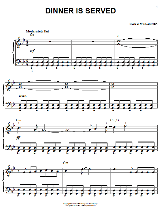 Hans Zimmer Dinner Is Served (from Pirates Of The Caribbean: Dead Man's Chest) sheet music notes and chords. Download Printable PDF.