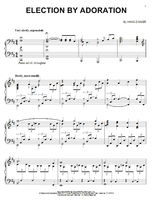 Hans Zimmer Election By Adoration sheet music notes and chords