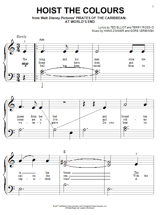 Hans Zimmer Hoist The Colours (from Pirates Of The Caribbean: At World's End) sheet music notes and chords. Download Printable PDF.